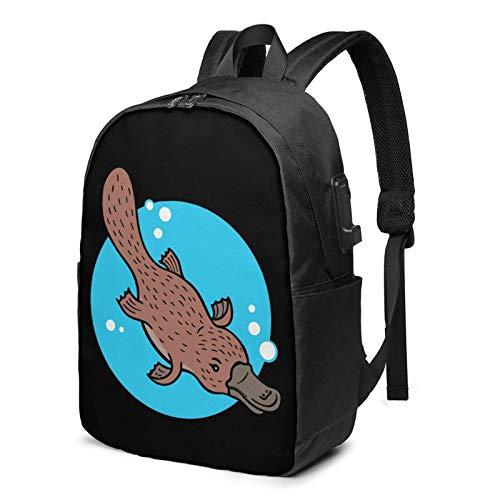 Travel Laptop Rucksack, Platypus Duckbill Travel Laptop Rucksack College School Bag Lässiger Tagesrucksack mit USB-Ladeanschluss