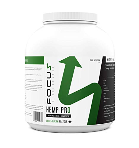 Focus Performance Hemp PrO, Hemp Protein Powder, Vegan, No Added Sugar or Artificial Sweetener, Plant Based Low Calorie Protein Shake for Muscle Gain, Added Multivitamins (Cocoa Dream 1KG)