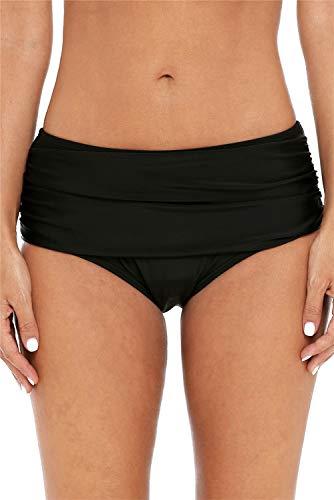 ALove Solide gerüschte Bikinihose für Frauen, hoch geschnitten, schwarze Badeanzughose - Schwarz - Large