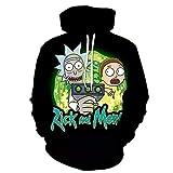 MEIPINPAI Sudadera Rick Morty Unisex Funny Anime 3D Print Cosplay Pullover Chaqueta con Bolsillo Varios diseños-A_S