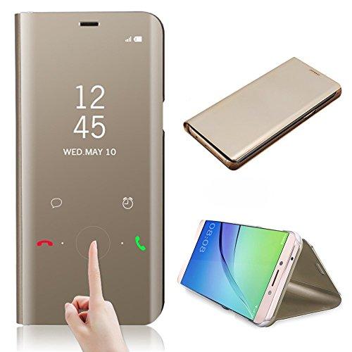 pour Samsung Galaxy A8 Plus 2018 Cas de Couverture Smart Miroir Wake UP Sleep Coque, CrazyLemon Slim Fit Smart PU étui en Cuir + Placage PC Coque pour Samsung Galaxy A8 Plus 2018 - Or
