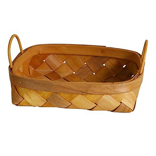 Huante Cesta de almacenamiento tejida a mano, cesta para pan, cesta de frutas para el hogar, cocina, escritorio, dulces, organizador de artículos de dulces, tamaño pequeño