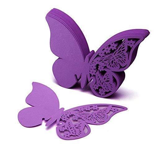 Zeagro 50 tarjetas de papel de mariposa de corte preciso para bodas,...