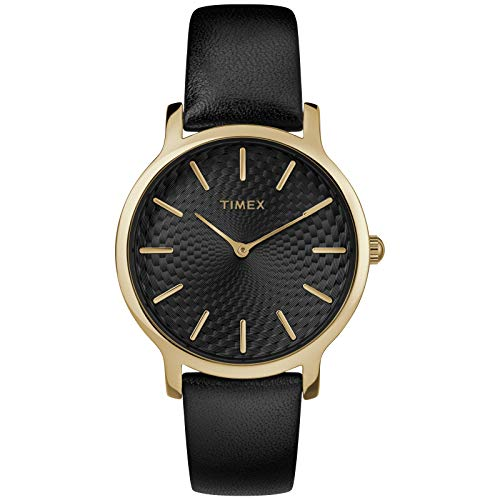 Timex Women's TW2R36400 Metropolitan 34mm Black/Gold-Tone Leather Strap Watch