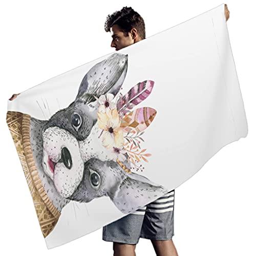 Gamoii Toalla de playa rectangular para hombre y mujer, con plumas, flores, perros, picnic, playa, secado rápido, toalla para playa, tomar el sol, color blanco, 150 x 75 cm