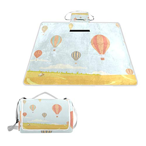 XINGAKA Picknickdecke,Heißluftballons über den Feldern Cartoon Stil Frau Reiten Fahrrad Sommersaison,Outdoor Stranddecke wasserdichte sanddichte tolle Picknick Matte