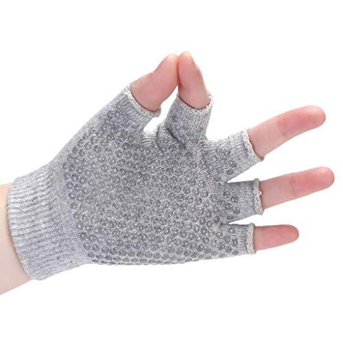 SADUORHAPPY Non-Slip Yoga Gloves Half Finger Fingerless Yoga Gloves Wear-Resistant Sports Gloves Gray
