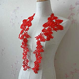 1 Pair Embroidery Applique Wedding Lace Floral Motif Sewing Trims Decoration (Red)