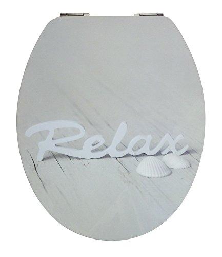 SITZPLATZ® WC-Sitz mit Absenkautomatik, Wellness Dekor Relax, High Gloss Toilettensitz mit Holz-Kern & Schnellbefestigung, Standard O Form, Metallscharniere, Toilettendeckel glänzend, 40197 5