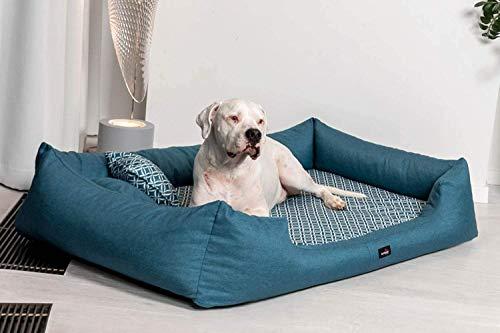 tierlando® Orthopädisches Hundebett Ellen Exklusives Rauten-Muster Blumen-Muster (ELL5 130x100cm (innen 100x80cm), 38 Petrol)