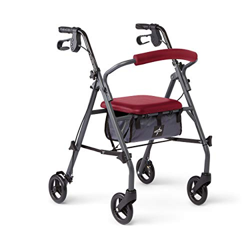 Medline Rollator Walker with Seat and Wheels, Durable Steel Frame Supports up to 300 lbs, 6 inch Wheels, Red, No Flavors
