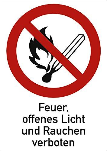 Schild Feuer, offenes Licht und Rauchen verboten gemäß ASR A1.3/ DIN 7010 Alu 185 x 131 mm (Brandgefahr, Kombischild) wetterfest