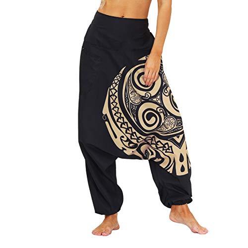 Guanghuansishe Pantaloni Harem Donna Pantaloni da Yoga Larghi Pantaloni Turca Donna Pantaloni Cavallo Basso Donna Largo Hip Hop Pantaloni da Yoga Boho Pantalone Aladino Yoga
