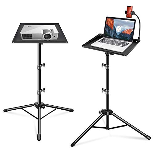 Yonader Laptop Projector Tripod Stand with Flexable Phone Stand, Adjustable Height 17 to 48 Inch Tripod Stand Universal Floor Stand 11x15 Inch Tray for Laptop Projector DJ Mixer Audio Controllers