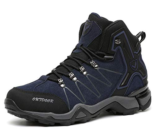 Kinder Wanderschuhe Jungen Wanderstiefel Mädchen Outdoor Trekking Schuhe rutschfeste Mid Trekkingstiefel für Unisex Herren Damen Blau EU44 - Etikett 45