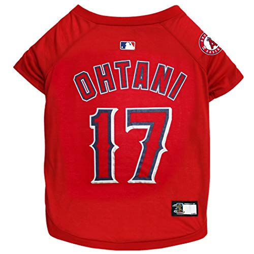MLBPA SHOHEI OHTANI #17 TEE Shirt for Dogs & Cats. MLB Los Angeles Angels Dog T-Shirt, Large   Sports Dress for Pets   Licensed Sporty Dog Shirt.