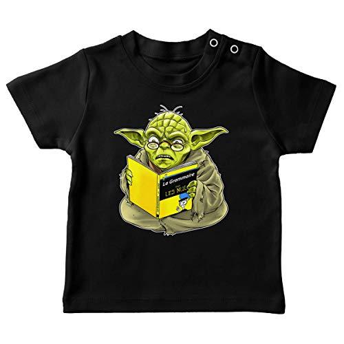 T-Shirt bébé Noir Parodie Star Wars - Yoda - en Grammaire, Un zéro, il est. : (T-Shirt de qualité Premium de Taille 6 Mois - imprimé en France)