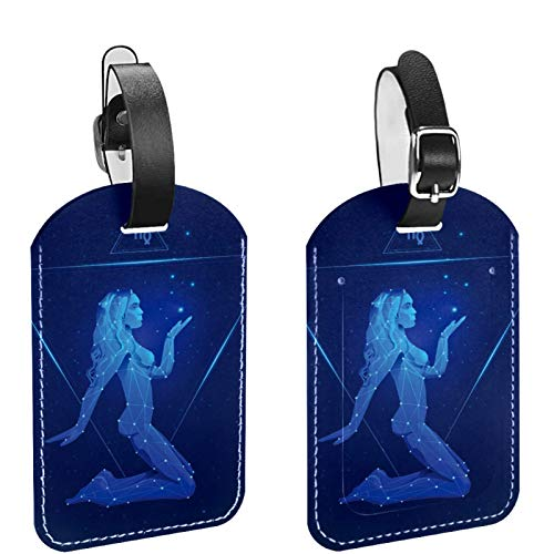 2-Pack Leather Luggage ID Tag for Men and Women, DIY Suitcase Tag Baggage Bag Tag Sexy Girl