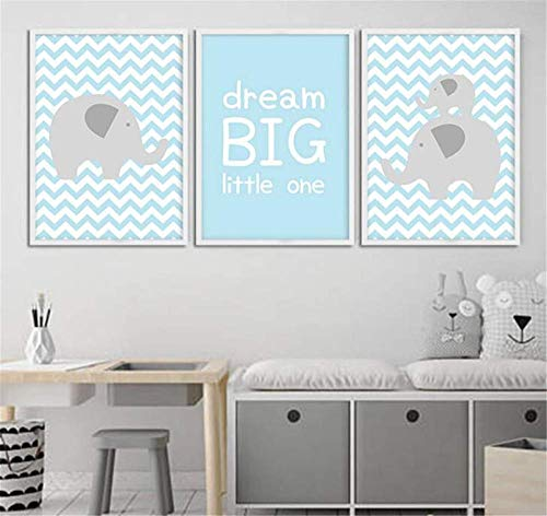 RFUFNPP New Dream Big Cartoon Poster Baby Nursery Wall Art Canvas Prints Painting Decorative Picture Nordic Kids Decoration 3 Pieces 50Cmx90Cm no Frame