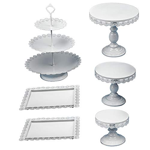 6Pcs Metal Cake Stand Cake Holder Cupcake Stand for Dessert Tower Wedding Party Display White