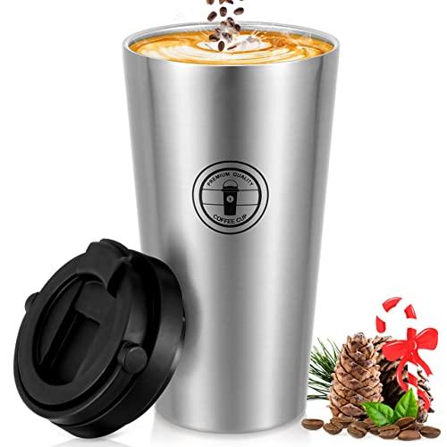 Taza Termo Cafe, Nisear 500ML Vaso Cafe para Llevar a Prueba de Fugas con Tapa, Taza de Viaje Acero Inoxidable con Cuchara y Cepillo para Hombre y Mujer, Colores primarios