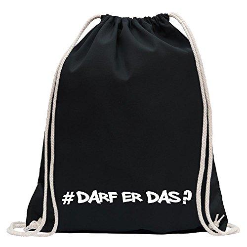 Kiwistar - Darf Er Das - Hashtag Turnbeutel Fun Rucksack Sport Beutel Gymsack Baumwolle mit Ziehgurt