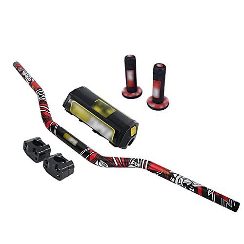 AnXin - Manillar de 28 mm + abrazadera elevadora + almohadilla + empuñaduras para motocicleta enduro (Dirt Bike Off), carretera, motocross (Pit Bike), Honda, KTM, Yamaha, Kawasaki, Suzuki