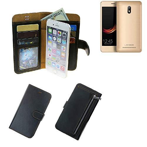K-S-Trade® Schutzhüll Für Leagoo Z6 Schutz Hülle Portemonnaie Case Phone Cover Slim Klapphülle Handytasche E Handyhülle Schwarz Aus Kunstleder (1 STK)