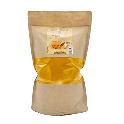 Altenburger Original Reines Kurkuma-Pulver 1 kg (1000 g) in wiederverschließbarer Tüte, Curcuma aus Indien ohne Zusätze, enthält natürliches Curcumin