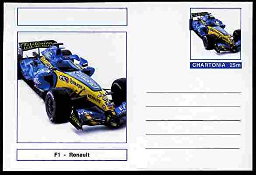 Chartonia (Fantasy) Formula 1 - Renault postal stationery card unused and fine TRANSPORT CARS F1 FORMULA 1 RENAULT JandRStamps