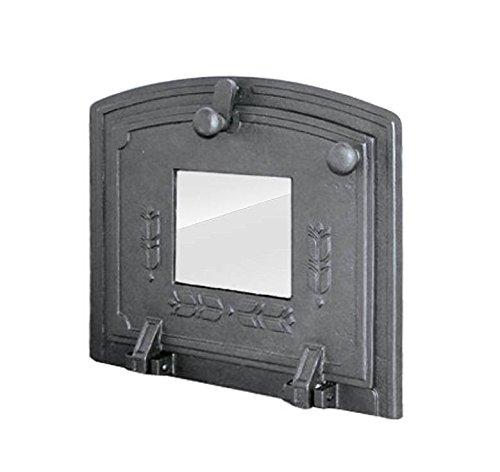 Puerta de horno para pizza o horno de madera de hierro fundido con placa de horno, dimensiones exteriores: 370 x 315 mm, dirección de apertura: hacia abajo
