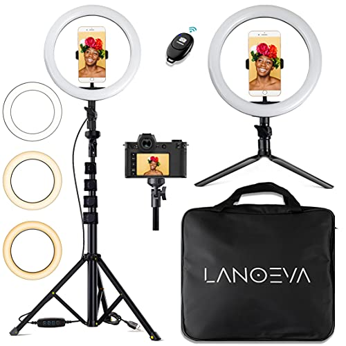 LANOEVA 10-inch Selfie Ring Light with 2 Adjustable Tripod Stands & Cell Phone Flexible Holder - Circle LED Beauty Camera Halo for Live Stream/YouTube Video/TikTok/Makeup - Remote for iPhone/Android