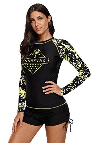 Mujeres Traje de Manga Larga Floral Rashguard UV Protección Camiseta Bañador para Buceo Natación Surf