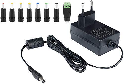 Poppstar - Adaptateur Secteur Universel AC DC, Chargeur Universel pour pc Portable de 12V 2A (3000mA, 5.5/2.5mm) - Bloc d'alimentation Universelle avec 8 Embouts, 150cm