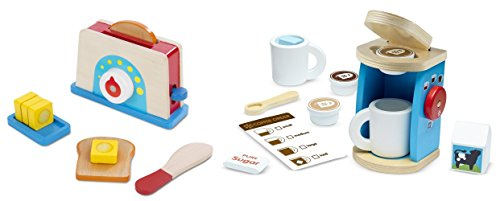 Melissa & Doug 11-Piece Brew and Serve Wooden Coffee Maker Set - Play Kitchen Accessories with Bread and Butter Toaster Set (9 pcs) - Wooden Play Food and Kitchen Accessories