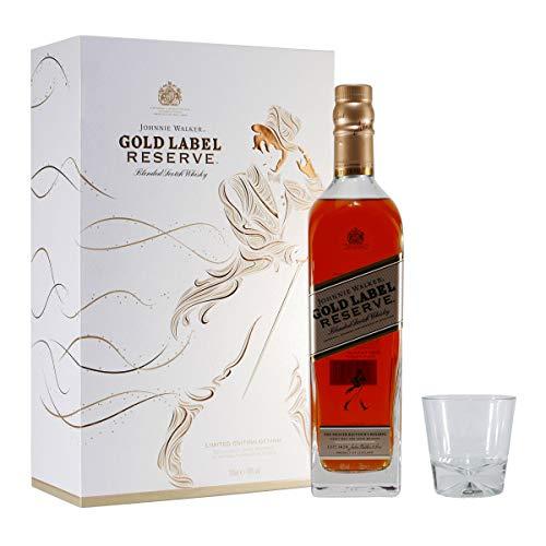 Johnnie Walker Gold Label, Geschenkpackung mit 2 Gläsern Blended Whisky (1 x 0.7 l)