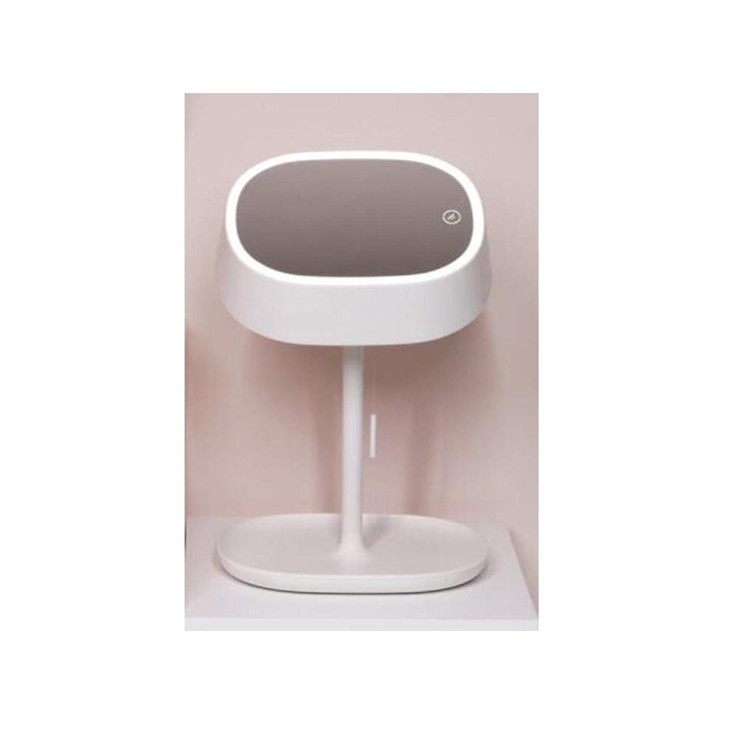 知恵彼らの主導権化粧鏡テーブルランプLEDミラーテーブルランプ充電式ベッドルームベッドサイドランプ収納美容ミラー化粧鏡 (Color : White)