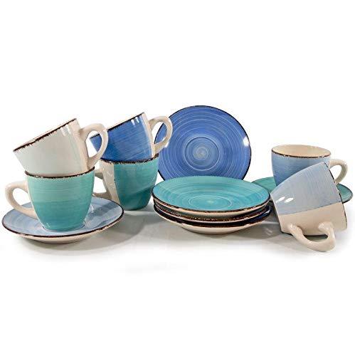 12 tlg. Kaffeeset für 6 Personen - Kaffee-Set - Kaffeeservice - Desserttellen Tassen