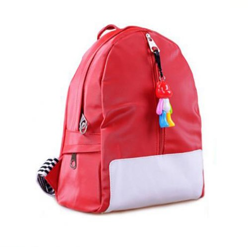 Gaorui Candy Color Canvas Backpack Cartoon Schoolbag with Double-Shoulder for Male Baby Child of Kindergarten Primary School Red