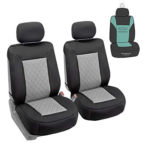 FH Group FB088102 Neosupreme Deluxe Quality Car Seat Cushions (Gray) Front Set with Gift - Universal Fit for Cars Trucks and SUVs