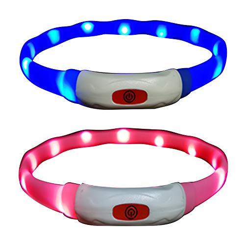 Vegena 2 × LED Collar de Perro de Mascota, Collar Luminoso Perro Seguro Brillantes USB Recargable Ajustable 3 Modo Mayor Visibilidad y Seguridad para Todos los Perros y Gatos