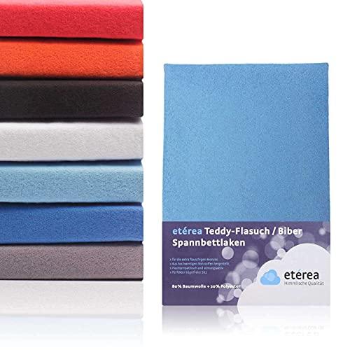 #11 Etérea Teddy Flausch Kinder-Spannbettlaken, Spannbetttuch, Bettlaken, 18 Farben, 60x120 cm - 70x140 cm, Hellblau