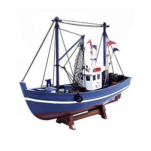 Longevidad Velero de Madera Diecast Modelo, sólida Simple Pescado de Madera Modelo de Barco, coleccionables y Regalos for Adultos, 15.7Inch X 8.7Inch Durabilidad