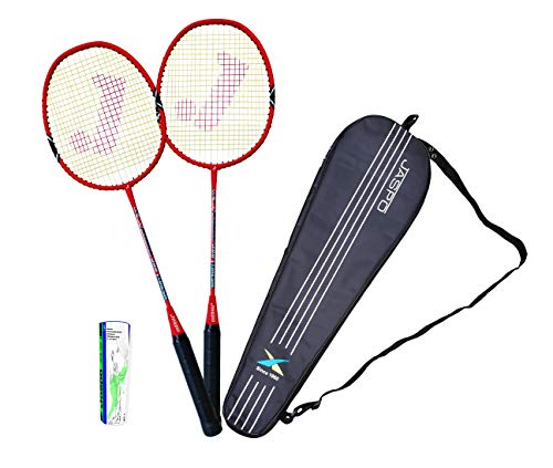 Jaspo Fire Blade Badminton Racquets with Graphite Shaft Combo - Includes 2 Rackets, Feather Shuttles (Pack of 5) and Carry Bag (Red)