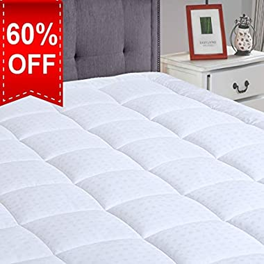 """LEISURE TOWN King Cooling Mattress Pad Cover(8-21""""Deep Pocket)-Fitted Quilted Mattress Topper Hypoallergenic Down Alternative Fill"""