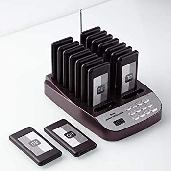 PagingPro Restaurant Pager System with 16 Pagers Wireless Queue Calling System Using for Church Clinic Food Court Bar  One Set 16