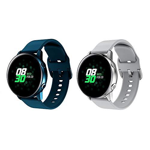 Bracelet de montre 20 mm pour Galaxy Watch Active 2, Galaxy Watch 42 mm, Garmin Vivoactive 3, bracelet en silicone souple, bracelet de sport à libération rapide pour femme et homm (Gris+Bleu Foncé)