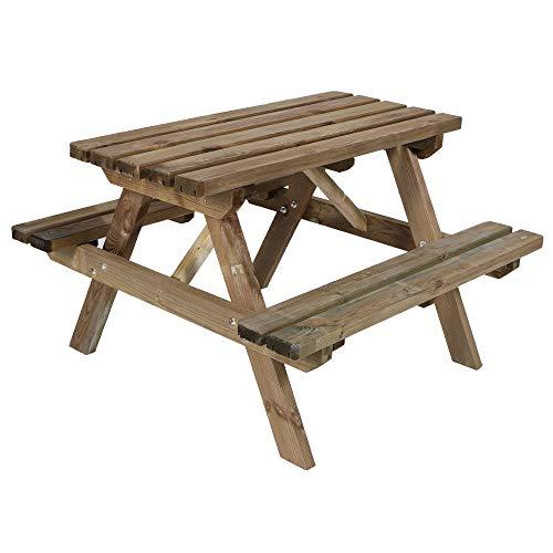 Kinder Picknicktisch 90x92x56cm Holz Kindersitzgruppe massiv Sitzgarnitur Druckimprägniert witterungsbeständig, Picknickgarnitur Gartentisch Tischset stabil