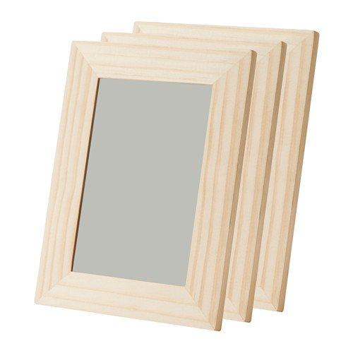 IKEA 3X ALBRUNNA Bilderrahmen 13x18 cm (Bildmass 10x15) Holz unbehandelt - ideal zum Basteln und dekorieren