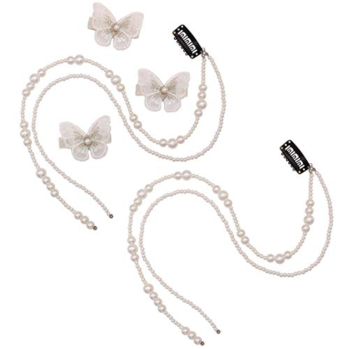 2Pcs Artificial Imitation Pearl Hair Extension Chain Tassel Hair Piece and 3Pcs Butterfly Hair Clips Ponytail Clip Head Chain Wedding Hair Jewelry Accessories for Women and Girls Fashion Accessoires, White